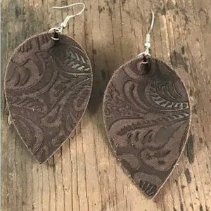 suede floral leather earring